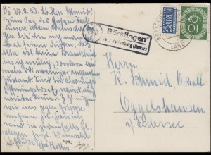Landpost Börstingen über ROTTENBURG (NECKAR) LAND 29.1.1953 auf Glückwunschkarte