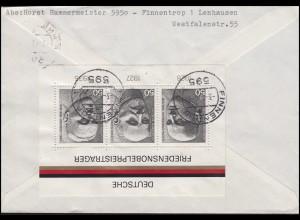 Block 11 Friedensnobelpreisträger mit Unfall 40 Pf MiF R-Brief FINNENTROP 3.4.76