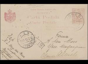 Rumänien Postkarte P 54 König Karl 10 Bani rot von MORENI 22.2.13 nach ALMELO