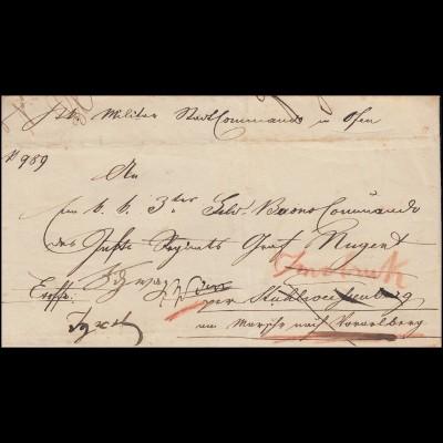 Ungarn Vorphila Dienstbrief Militärstadtkommando OFEN 1849 nach Stuhlweisenburg