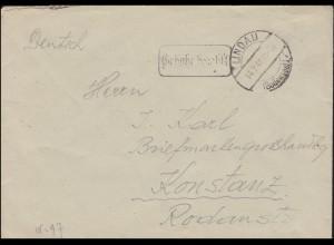 Gebühr-bezahlt-Stempel auf Brief LINDAU (BODENSEE) 14.2.1946 nach Kostanz