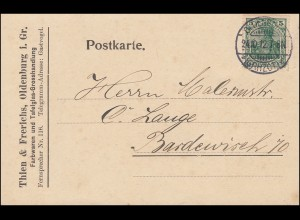 85Ia Germania EF Postkarte Farbwaren und Tafelglas OLDENBURG 24.10.1912