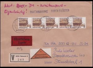 1348 SWK 300 Rollenmarken-5er-Streifen mit Nummer portog. Wert-Nachnahme-Eil-FDC