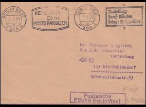 Postsache PSchA BERLIN WEST 14.4.59 nach Berlin-Zehlendorf Werbe-O Postsparbuch