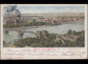 AK Gruss aus Koblenz Panorama über dem Rhein, COBLENZ 24.9.08 nach HAMBURG 25.9.