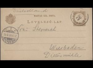 Ungarn Postkarte P 6 Ziffer 2 Kr. gelaufen am 19.9. nach WIESBADEN 1 - 21.9.97