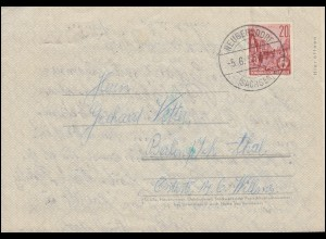 Faltbrief F1a dünn/durchsichtig aus NEUGERSDORF (SACHSEN) 5.6.1957 nach Berlin