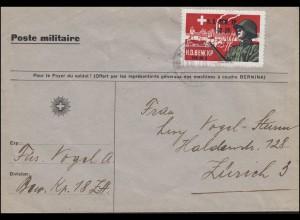 Schweizer Militärpost H.D. BEWACHUNGS KP. 18/H FELDPOST mit Soldatenmarke