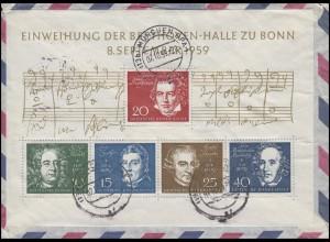 Block 2 Einweihung Beethovenhalle EF R-Brief MÜNCHEN BPA 1 - 7.10.59 in die USA