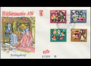 237-240 Wofa Märchen Grimm Dornröschen Satz auf FIDACOS-FDC ESSt BERLIN 6.10.64