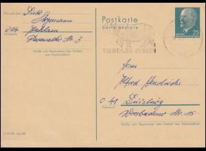 Werbestempel Nashorn - Tierparl Berlin auf DDR Postkarte P 25 BERLIN 28.3.1972