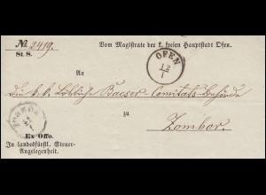 Ungarn Dienstbrief Ex-officio Einkreis OFEN 12.1.1855 nach ZOMBOR 14.1.