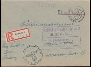 Feldpost Panzer-Ersatz-Abteilung 35 R-Bf. BAMBERG 24.12.43 an das RKPA in Berlin