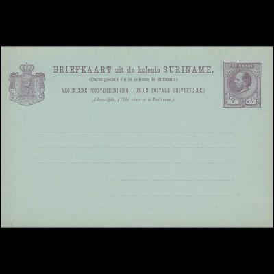 Surinam Postkarte / Post Card 5 Ct. lila auf bläulich 1888, ungebraucht **