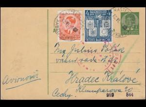 Deutsche Zensur Jugoslawien-Postkarte P 77 mit Zusatzfr. KASTELLUKSIS 12.6.1940