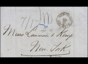 Brief ab Santiago de C. nach New York mit Porto-Stempel von NEW YORK 31.8.1876