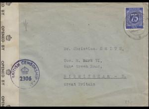 Zensur Military Censorship 2306 Auslandsbrief EF 934 NEUENRADE 1947 nach England
