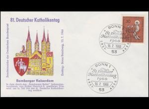 515IV Katholikentag mit PLF IV: abgeschrägtes T, Schmuck-FDC ESSt Bonn 13.7.1966