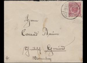47 Krone/Adler 10 Pf als EF auf Brief FALKENSTEIN (TAUNUS) 22.9.1894 nach Gmünd