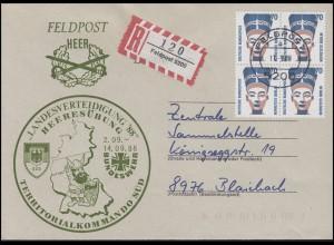 Feldpost Bund-Heeresübung'88 R-Brief mit SWK 1374 Vbl. FELDPOST 5200 - 11.9.88