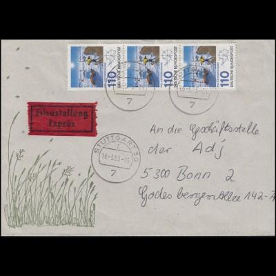 1100 Polarforschung 3x 110 Pf. MeF Eil-Brief STUTTGART 16.5.83 nach Bonn