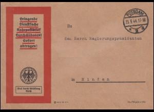 Frei durch Ablösung Reichsministerium des Innern Rohrpost POTSDAM 23.5.44