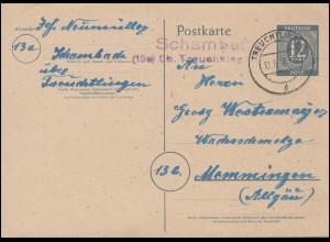 170 Bezirkshandstempel IV MAGDEBURG 30.7.48 auf Brief mit NACHGEBÜHR-Stempel