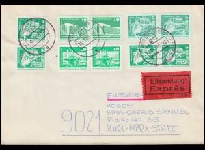 DDR 1868ff Aufbau klein RTdr. und StichTdr. auf Eil-Brief TORGELOW 30.1.80