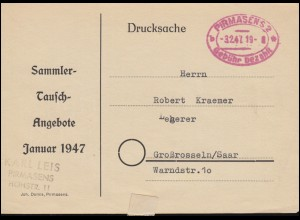 Gebühr-bezahlt-Stempel Pirmasens 3.2.1947 auf Drucksache Sammler-Tausch-Angebote