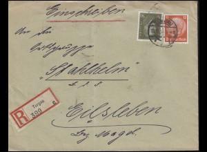 420 Ebert 50 Pf + 487 Hindenburg 12 Pf MiF R-Brief TORGAU 11.8.33 nach Eilsleben