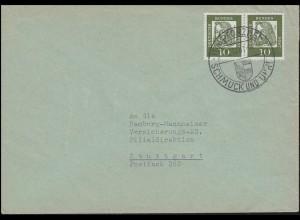 350x Dürer 10 Pf. Paar MeF Brief SSt PFORZHEIM SCHMUCK und UHREN 12.12.1961