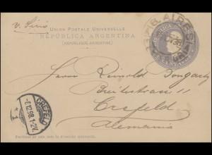Argentinien Postkarte 6 Cent. grau BUENOS AIRES 5.11.38 nach CREFELD 8.12.98