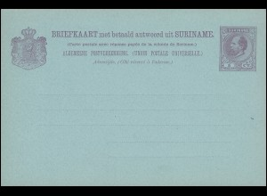 Surinam Doppel-Postkarte / Double Post Card 5/5 Ct.1888, ungebraucht **