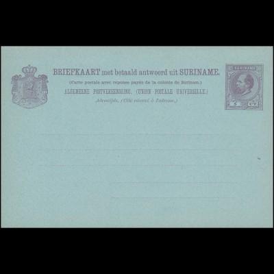 Surinam Doppel-Postkarte / Double Post Card 5/5 Ct.1888, ungebraucht **