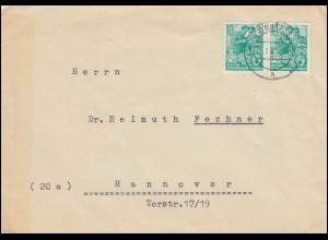 DDR 704B Fünfjahresplan 10 Pf Paar in MeF Brief ZEITZ 1 - 8.8.60 nach Hannover