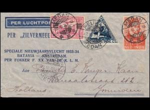 KLM-Neujahrsflug Silvermeeuw-Schmuck-Brief mit PELIKAAN-MEDAN 27.12.33 n.Haarlem