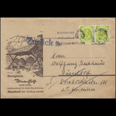 123 Posthorn 2 Pf Paar MeF Drucksache Honig Bienen HAMBURG-LOKSTEDT 1953 +ZURÜCK