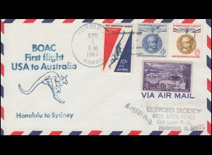 Erstflug BOAC First flight USA to Australia ab HONOLULU 1.4.67 nach SYDNEY 3.4.