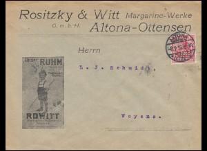 Firmenlochung Mg.O. kopfstehend auf Germania 10 Pf. Auslandsbrief ALTONA 8.9.12