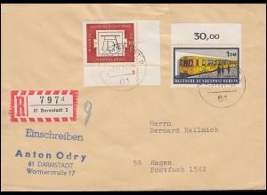 677 Dürer mit FN 3 und Berlin 384 U-Bahn auf R-Brief DARMSTADT 3.11.71 n. Hagen