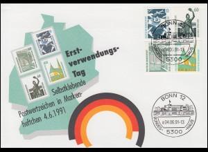 1531-1534 SWK 1991 selbstklebend aus MH 27, Satz auf Schmuck-FDC BONN 4.6.91