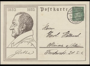 Gedenkpostkarte P 213 Goethe NASTÄTTEN / TAUNUS 30.7.32 nach Mainz