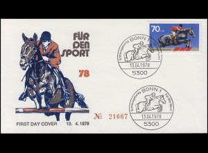 968 Sporthilfe Sprungreiten - auf Schmuck-FDC ESSt BONN 13.4.1978