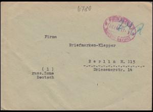 Gebühr-bezahlt-Stempel Pirmasens 26.7.1946 auf Brief nach Berlin