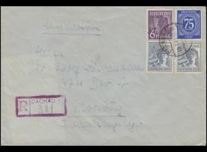 MiF Kontrollrat I+II auf R-Brief Not-R-Stempel DACHAU 18.7.47 nach Moosburg