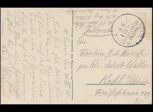 DEUTSCHE MARINE-SCHIFFSPOST No 121 - 31.8.1915 auf AK SMS Kaiserin nach Kehl/Rh.