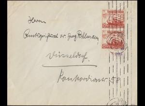 676+679 WHW Alpenblumen 4+8 Pf. je mit Oberrrand auf Brief MAINZ 28.12.38