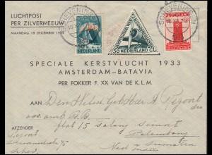 KLM-Flugpost Zilvermeeuw/Pelikaan Amsterdam-Palembang 18.12.33 / 22.12.33