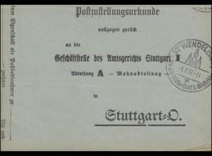 Postzustellungsurkunde mit SSt WENDEL Die alte Kulturstadt des Westrichs 1.7.37