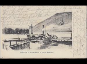 AK Bingen - Mäuseturm und Ruine Ehrenfels, 19.7.1903 nach MÖNCHENGLADBACH 20.7.